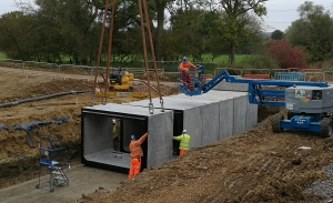 3.0m x 2.0m Box Culverts being installed on the A45 Daventry Development Northern Link Road.