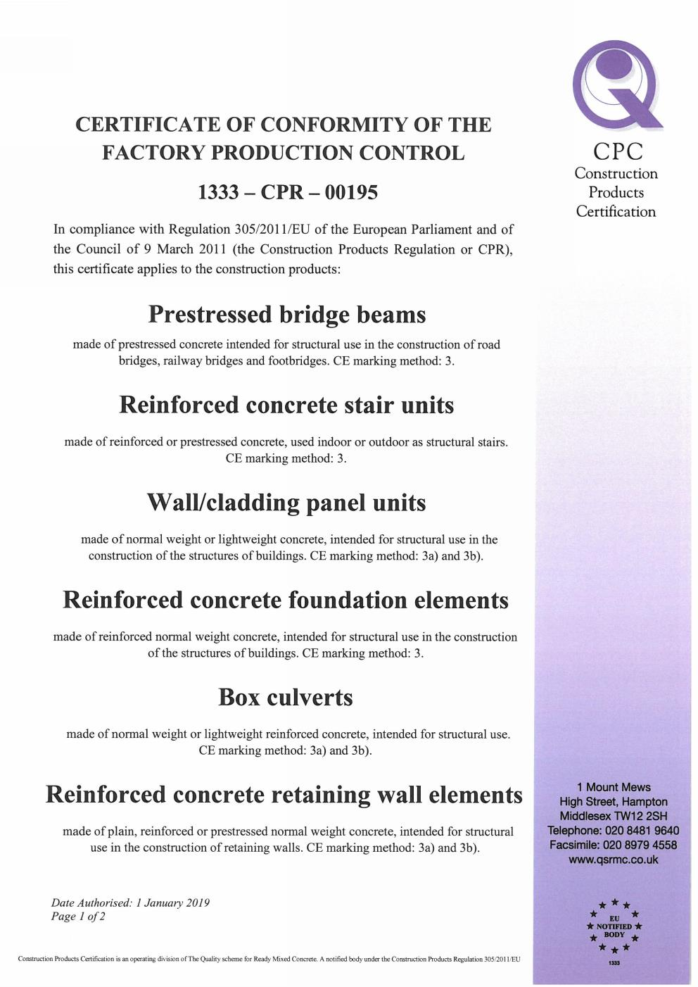 CPR 195 Certificate ABM Concrete Solutions Issue 2 Page 001
